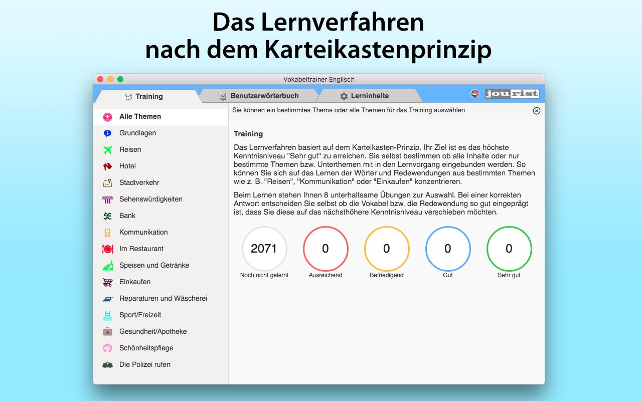 Jourist Vokabeltrainer für Windows und Mac